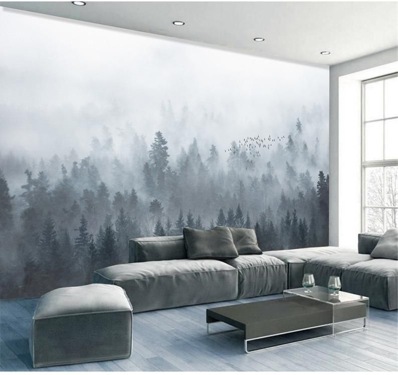 Mountains wall decals Nursery woodland landscape wall art Mountains with pine trees wall sticker Large mountain wall decals-136