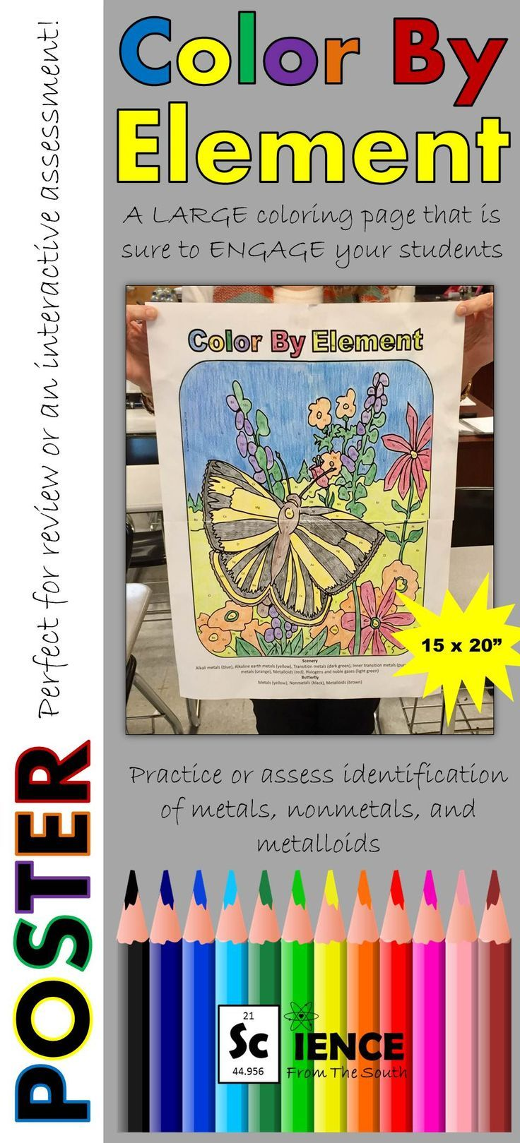 Color By Element Poster For Review Or Assessment Of Metal Nonmetal