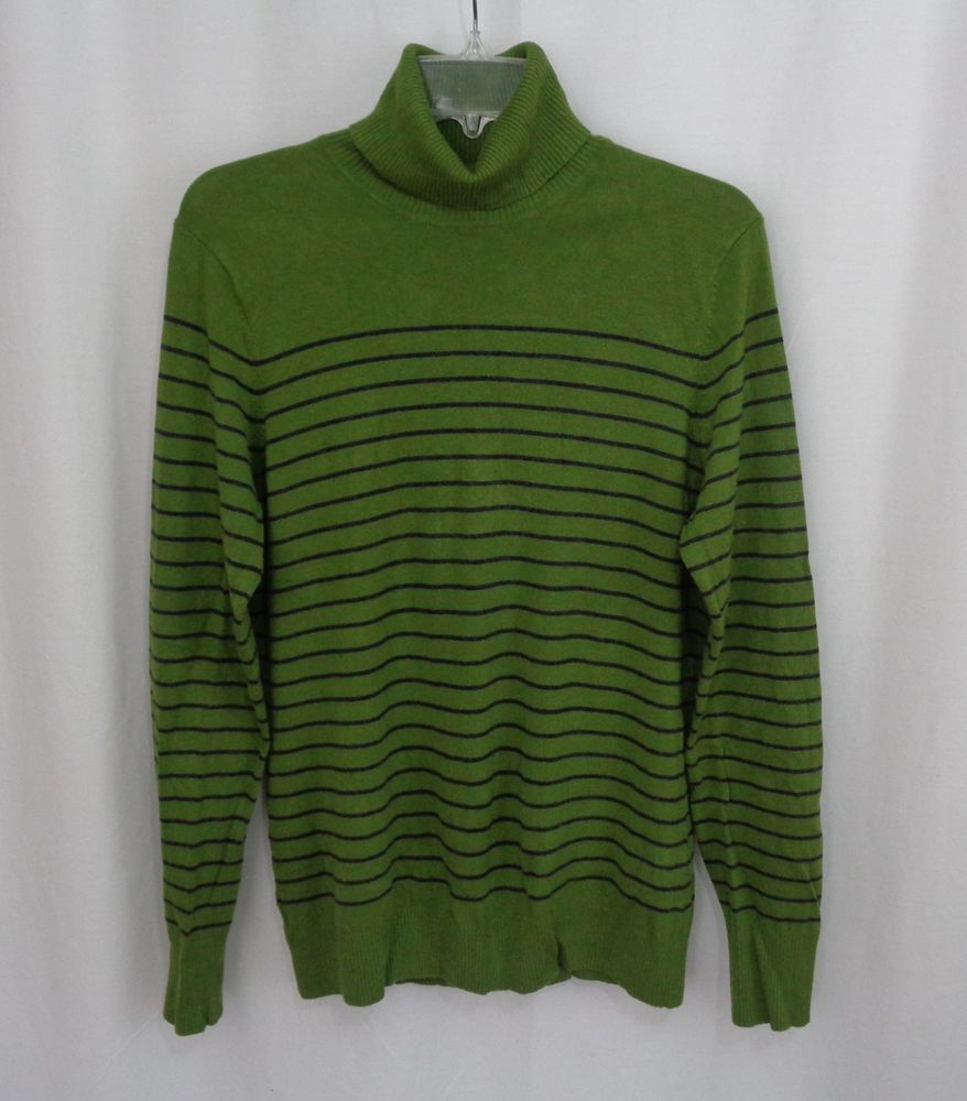 Womens THE LIMITED Green Navy Striped Lightweight Turtleneck ...