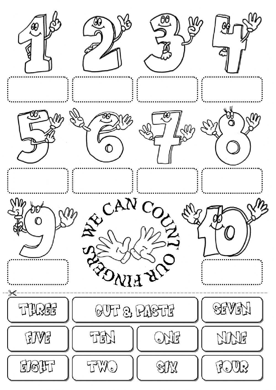Numbers wordsearch Fichas de trabalho, Atividades em