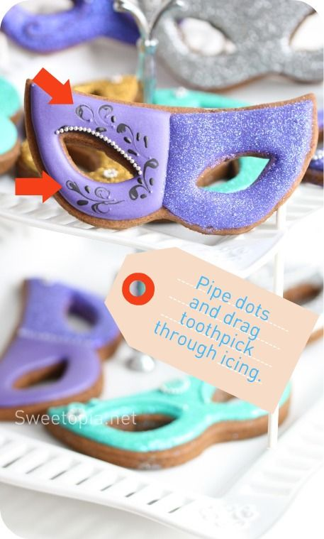 How To Decorate Mardi Gras Mask Cookies A BaKeRS Dozen Pinterest Enchanting How To Decorate A Mask