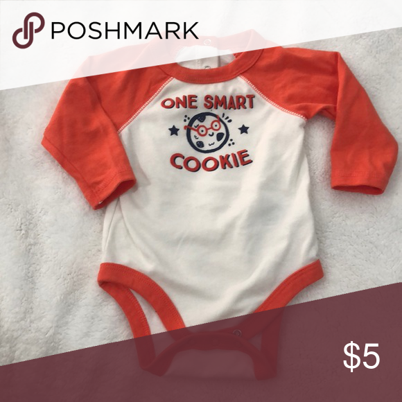 78b24a6b1 Long sleeve onesie Washed and never worn 0-3 months one smart cookie ...