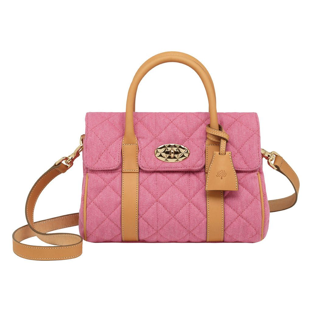 c6464da18c86 Mulberry Small Bayswater Satchel Candy Pink Quilted Dyed Denim ...