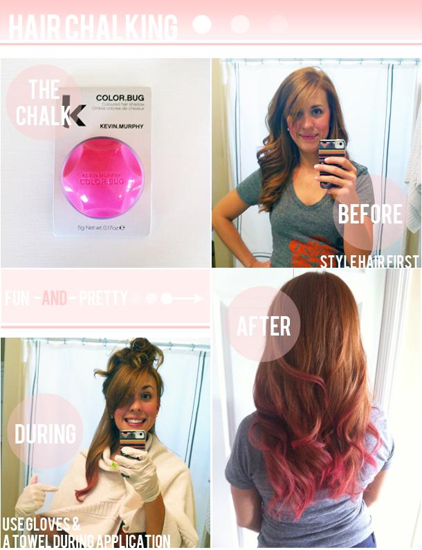 Color Bug Hair Chalking Hot Pink On Red Hair Via Prettysweetlife