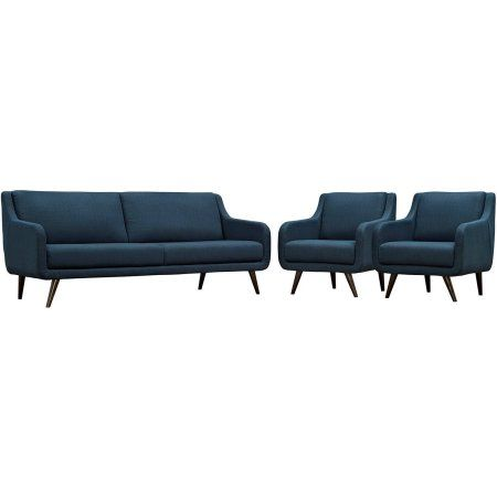 Modway Verve Living Room Set, Upholstered, Set of 3 (Sofa and 2 Armchairs), Multiple Colors, Blue