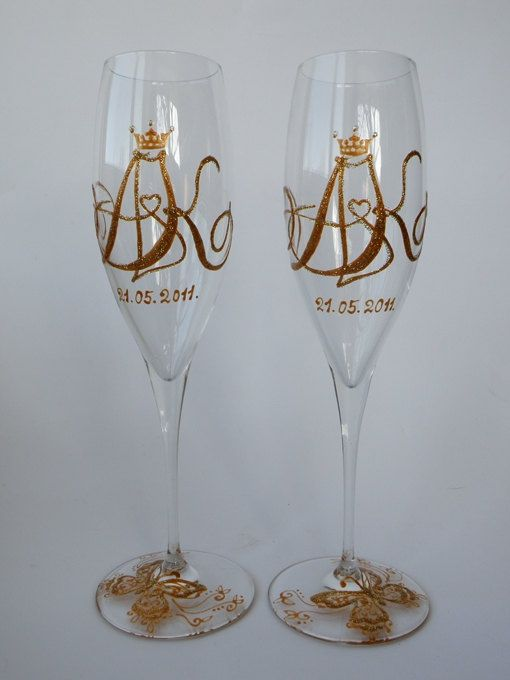 Hand Painted Wedding Toasting Flutes