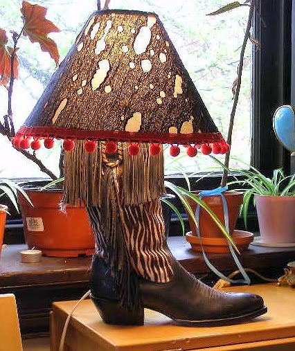 Cowboy Boot Lamp With Pom Pom Fringe Cowboy Boots Boots Western Fashion