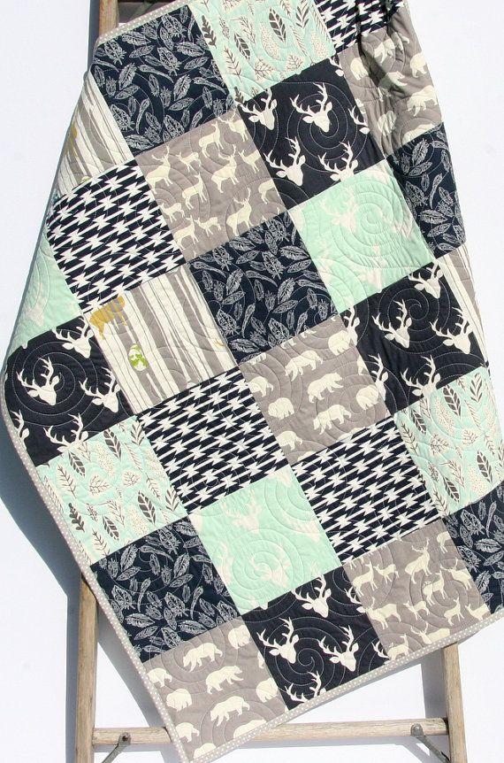 Baby Blanket Woodland Quilt, Blue Deer Head Baby Bedding
