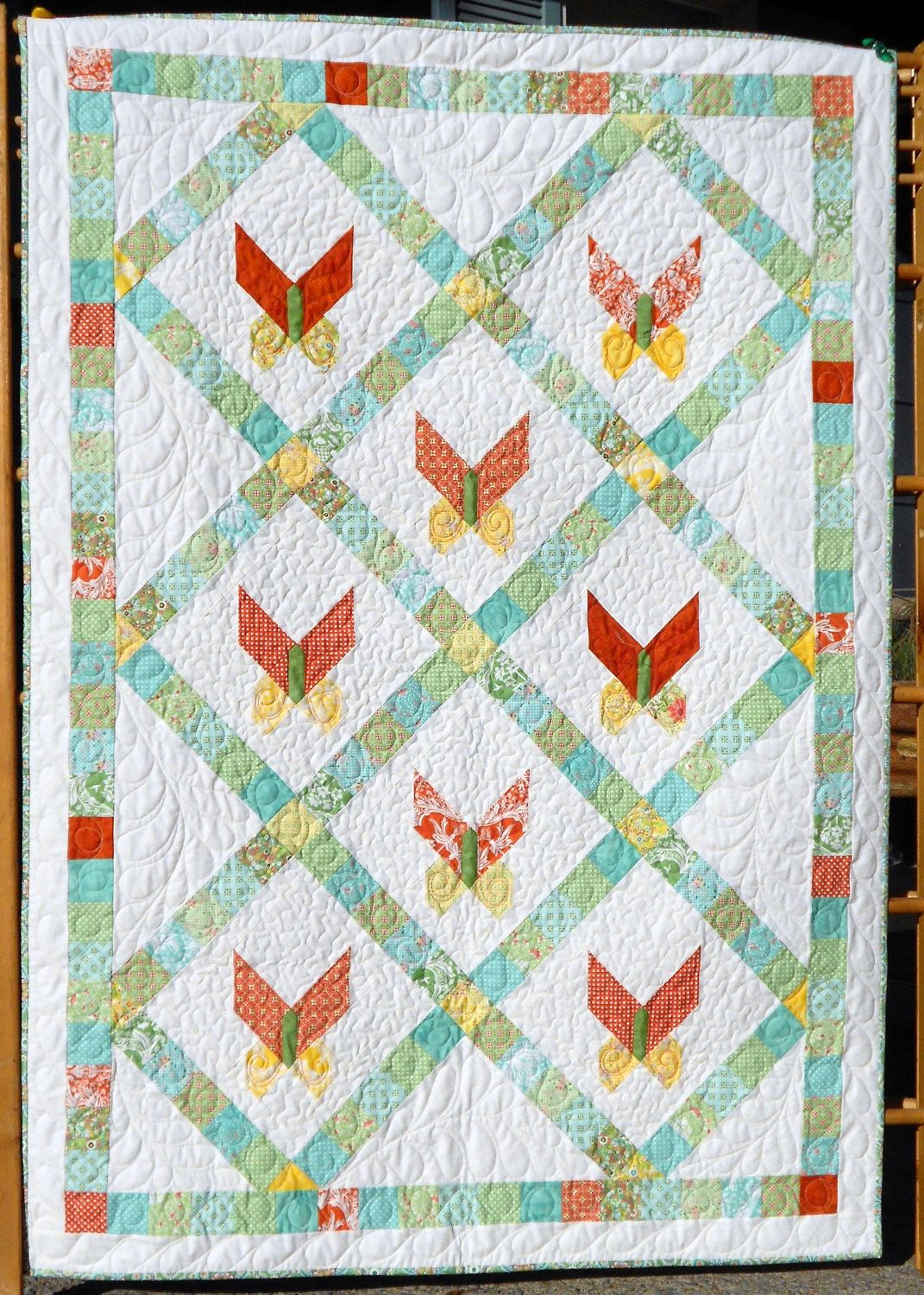 Quilting Patterns On A Roll : Baby Quilt Pattern - Butterfly Jelly Roll Pattern EASY Quilt and Table Runner Pattern - Petit ...