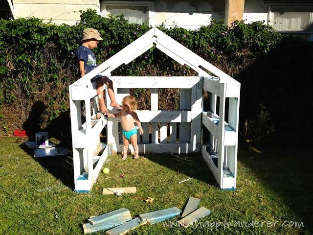 Kleines Haus Für Die Kinder Von Paletten 4 Basteln Kinder