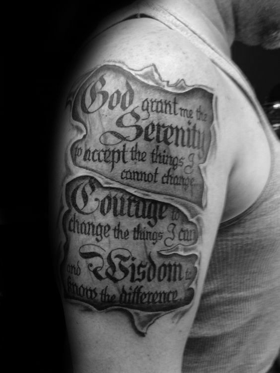 50 serenity prayer tattoo designs for men uplifting ideas pinterest. Black Bedroom Furniture Sets. Home Design Ideas