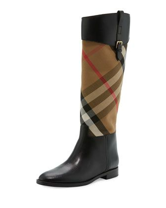 be24ccc886d Burberry leather rain boot with House Check canvas shaft. 1