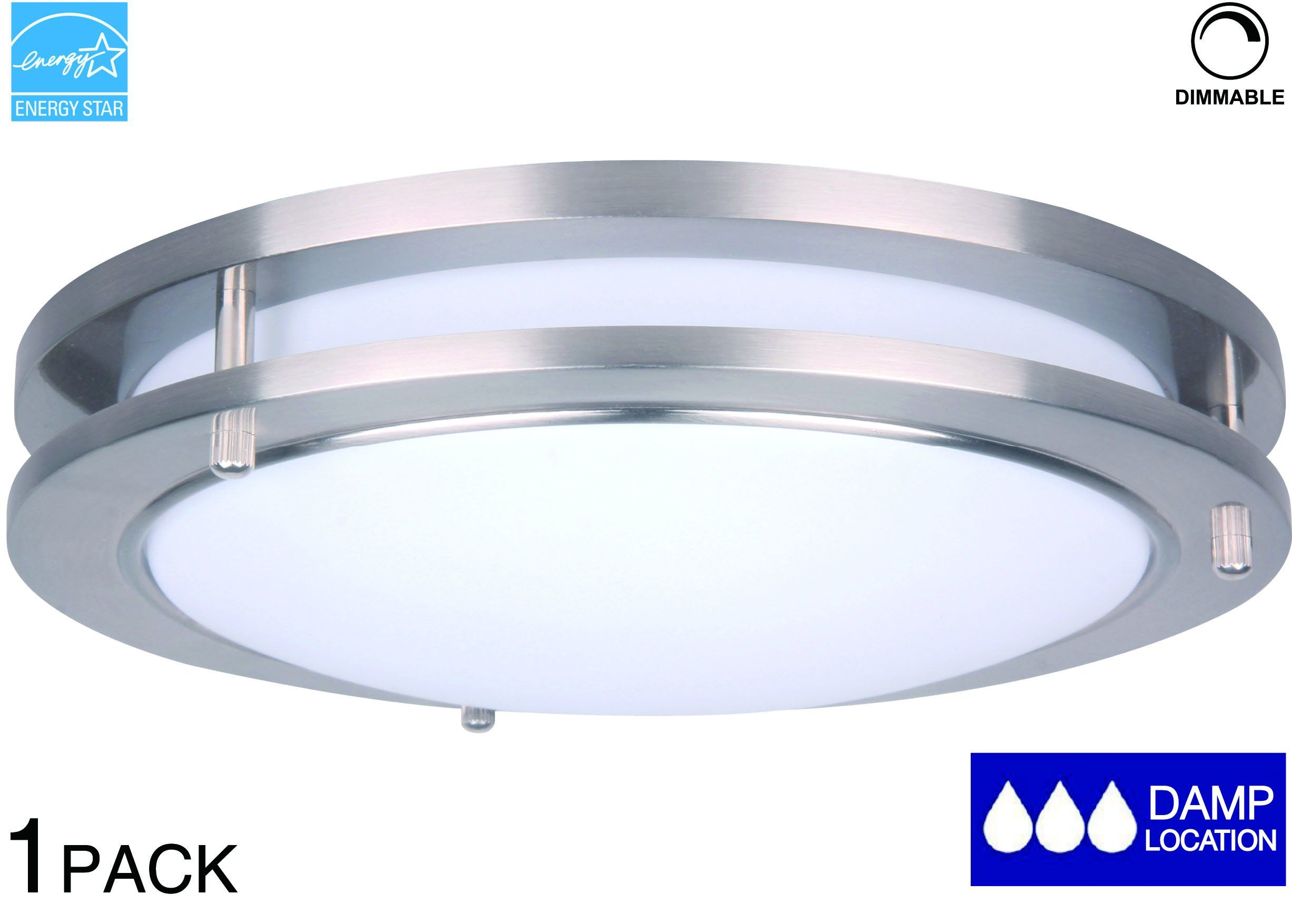 Lit Path 10 Inch Dimmable Led Flush Mount Ceiling Lighting Fixture 14w Replace 100w 994 Lumen Satin Nickel Finish Etl And Es Qualified Led Flush Mount Flush Mount Ceiling Light Fixtures Dimmable Led