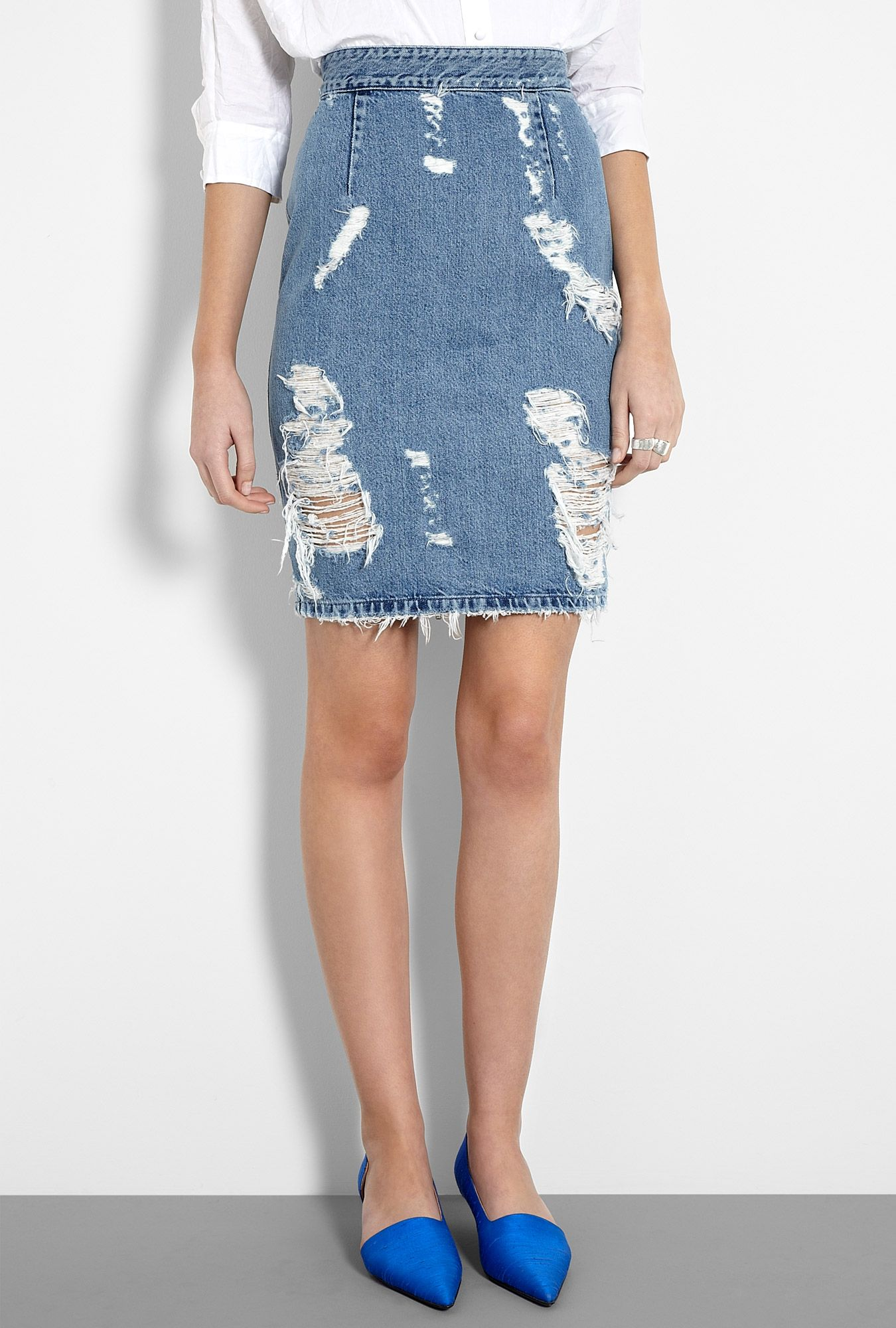 Acne SS12: Trashed Denim Zip Back Pencil Skirt | Jag vill ju va ...