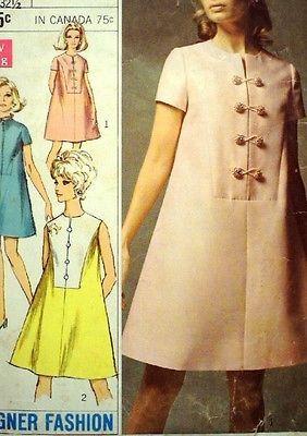 Vintage 1960s simplicidad 7573 Mod una línea Carpa Vestido Patrón 38B Talla 16 UNCT