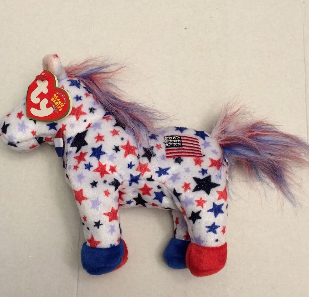 83a58e24824 New with Tags Ty Beanie Babies Lefty Stars and Stripes Horse USA Flag 2004
