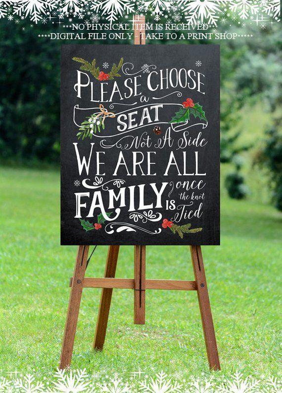 christmas wedding sign, printable wedding sign, Christmas pick a seat sign, digital wedding sign, pick a seat not a side, 16x20, you print#16x20 #christmas #digital #pick #print #printable #seat #side #sign #wedding