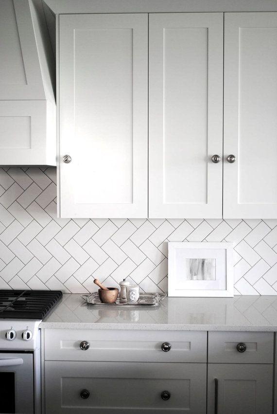 Color Wash Choose Your Color Herringbone Subway Tile Kitchen