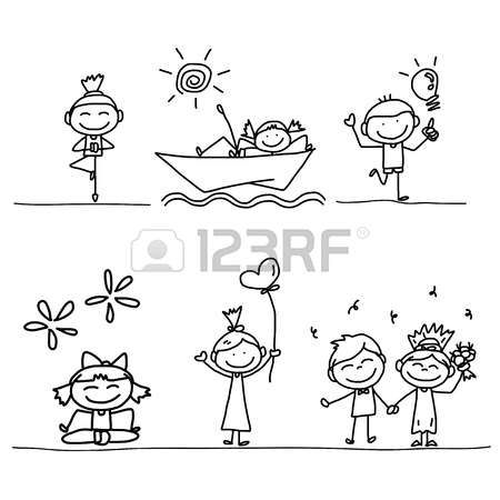 bambini stilizzati set di disegno a mano cartone animato