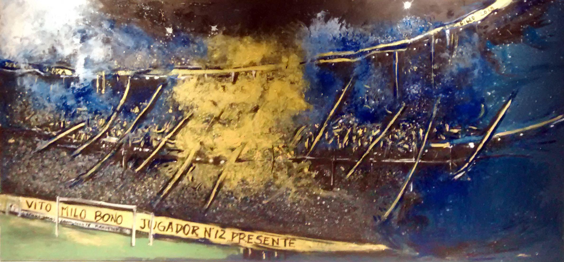 """Verónica Faraone """"La Bombonerita"""" Acrílico sobre tela .  300x140 cm  2015"""
