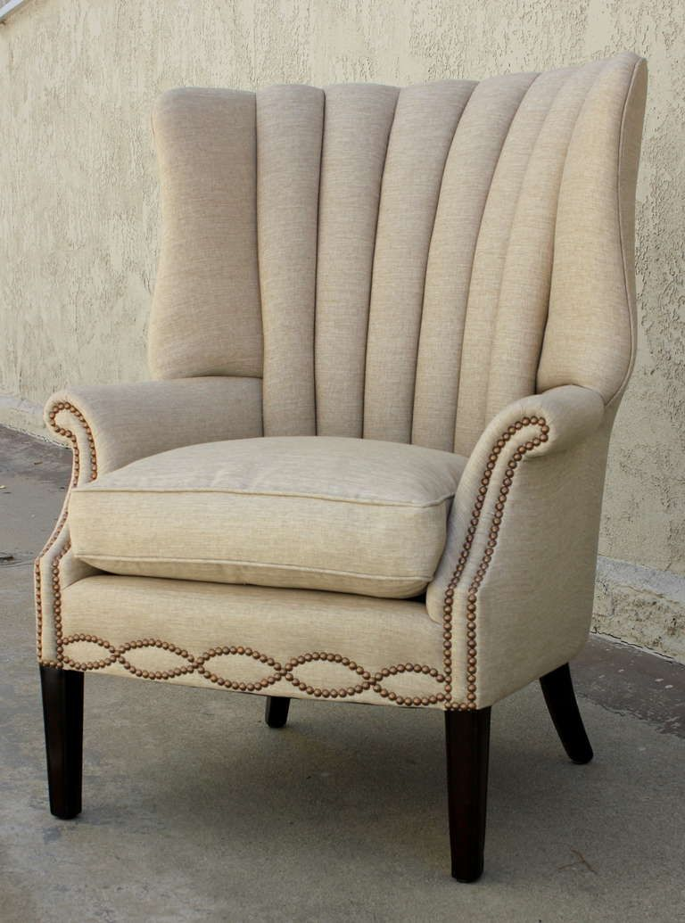 1940s Channel Back Linen Wing Chair 1stdibs Com Linen Wing Chair Wing Chair Chair