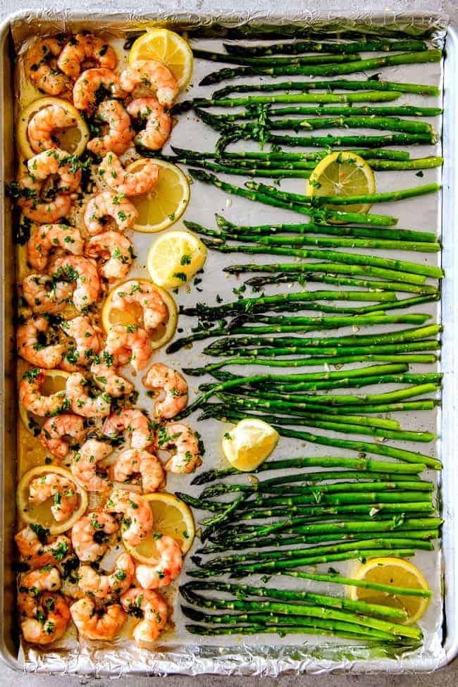 Roasted Lemon Garlic Butter Shrimp and Asparagus (VIDEO!)
