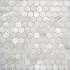 Mother Of Pearl Hex Tiles Fireplace Surround Idea
