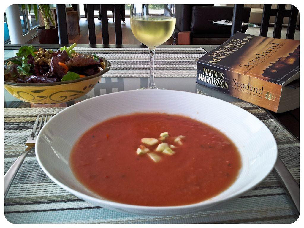 #Provins Valais #Apologia Bianco alongside a Grilled Heirloom Tomato #Gazpacho, spring salad and a bit of history to pass a summer day.