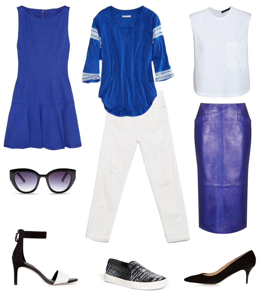 Royal blue and white combinations.