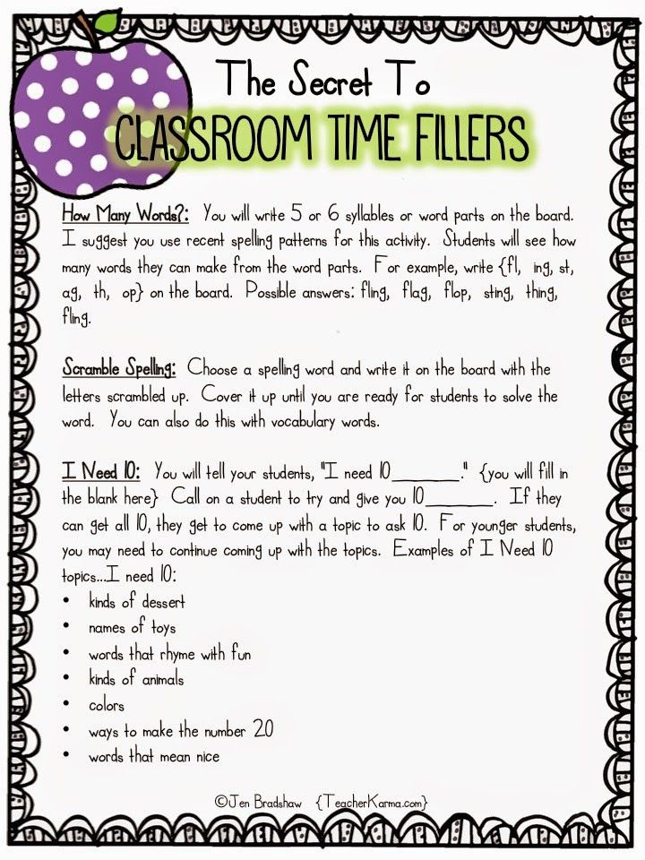 Worksheets For Substitute Teachers Awesome No Prep Early Finisher