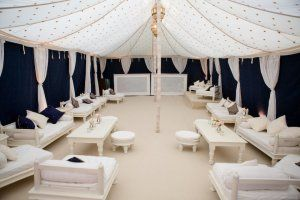 Indian Wedding Tent chill out area.  Planners Just Bespoke. Image by Lucy Davenport