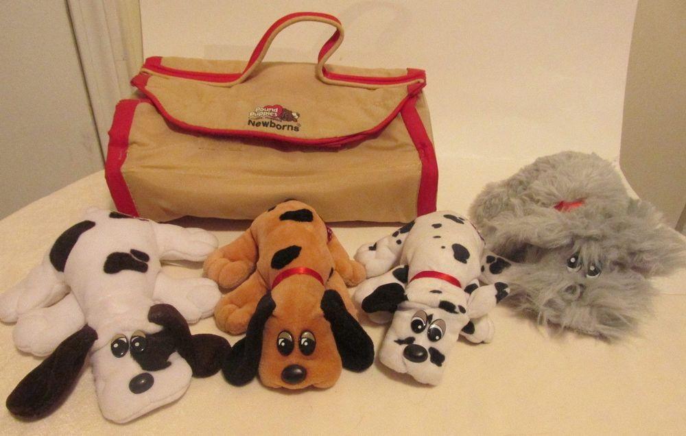 Vintage Pound Puppies Carrier + 4 Newborn Puppies Plush