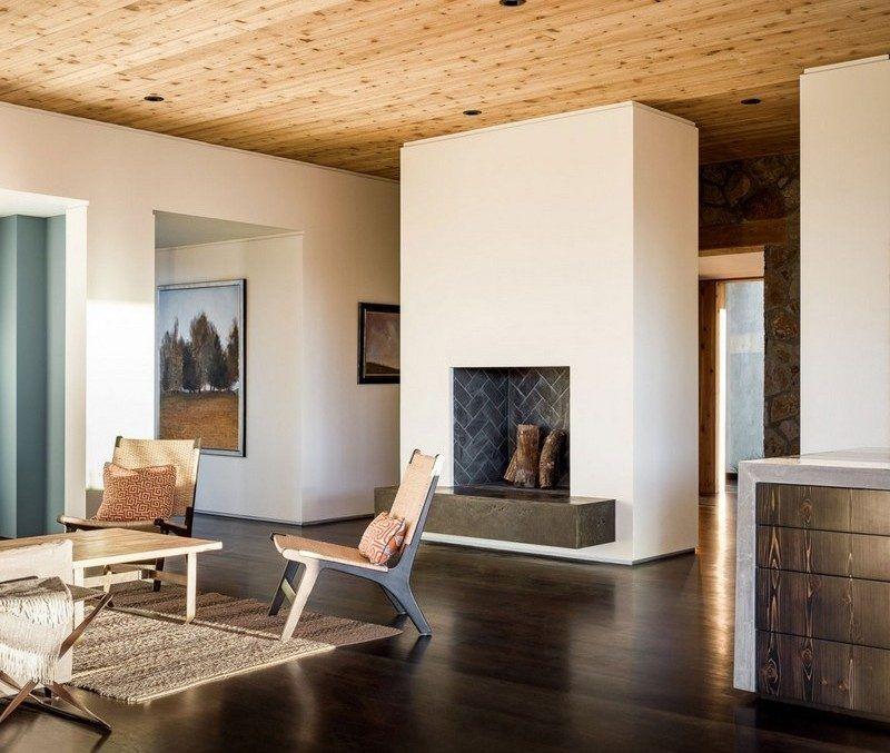 Pierre Et Bois Dans Une Maison Moderne Californienne   Salles De