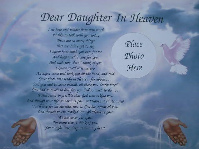 Dear daughter in heaven memorial verse poem lovely gift ...