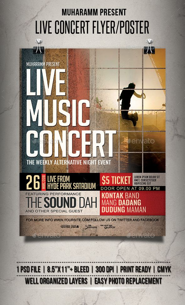 Live Music Flyer / Poster Music flyer, Flyer template and Template