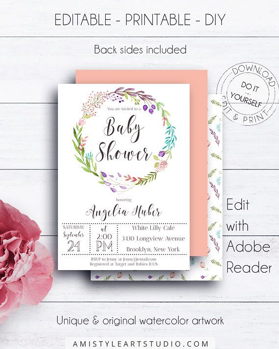 Baby Shower Editable Template, with stylish watercolor floral - create invitations online free no download