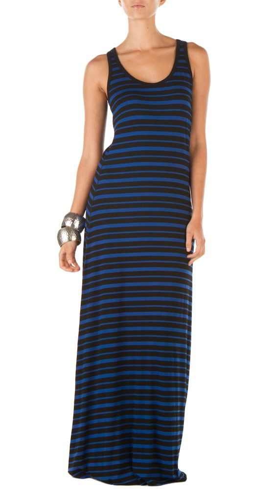 Stripe Scuba Dress in Black/Colbalt
