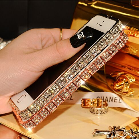Luxury Shining Bling Czech Rhinestone Diamond Metal Bumper Frame for iPhone 5 5s