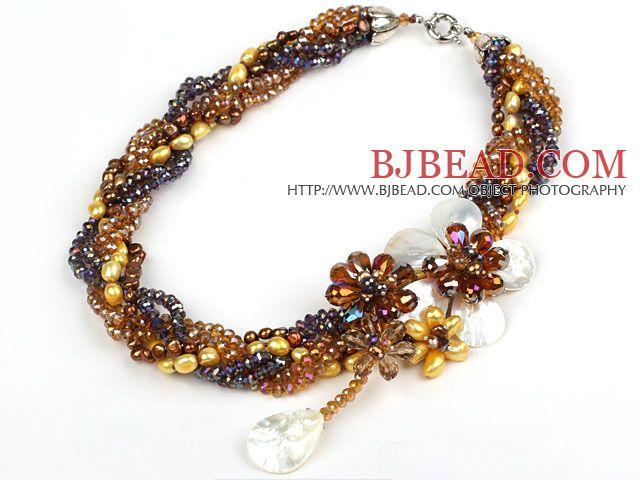 Elegante y Big Style Brown Serie Perla Cristal y Negro Shell collar de flores Partido