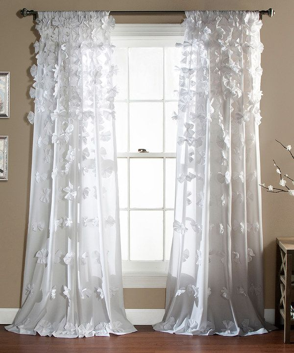 I Wish These Petal Curtains Came In Emerald Green Or Deep Plum White Bo Curtain Panel On Zulily Today