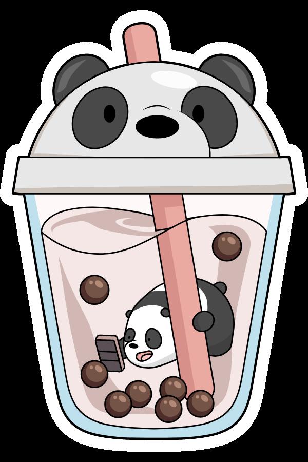 We Bare Bears Panda in Boba Drink Sticker