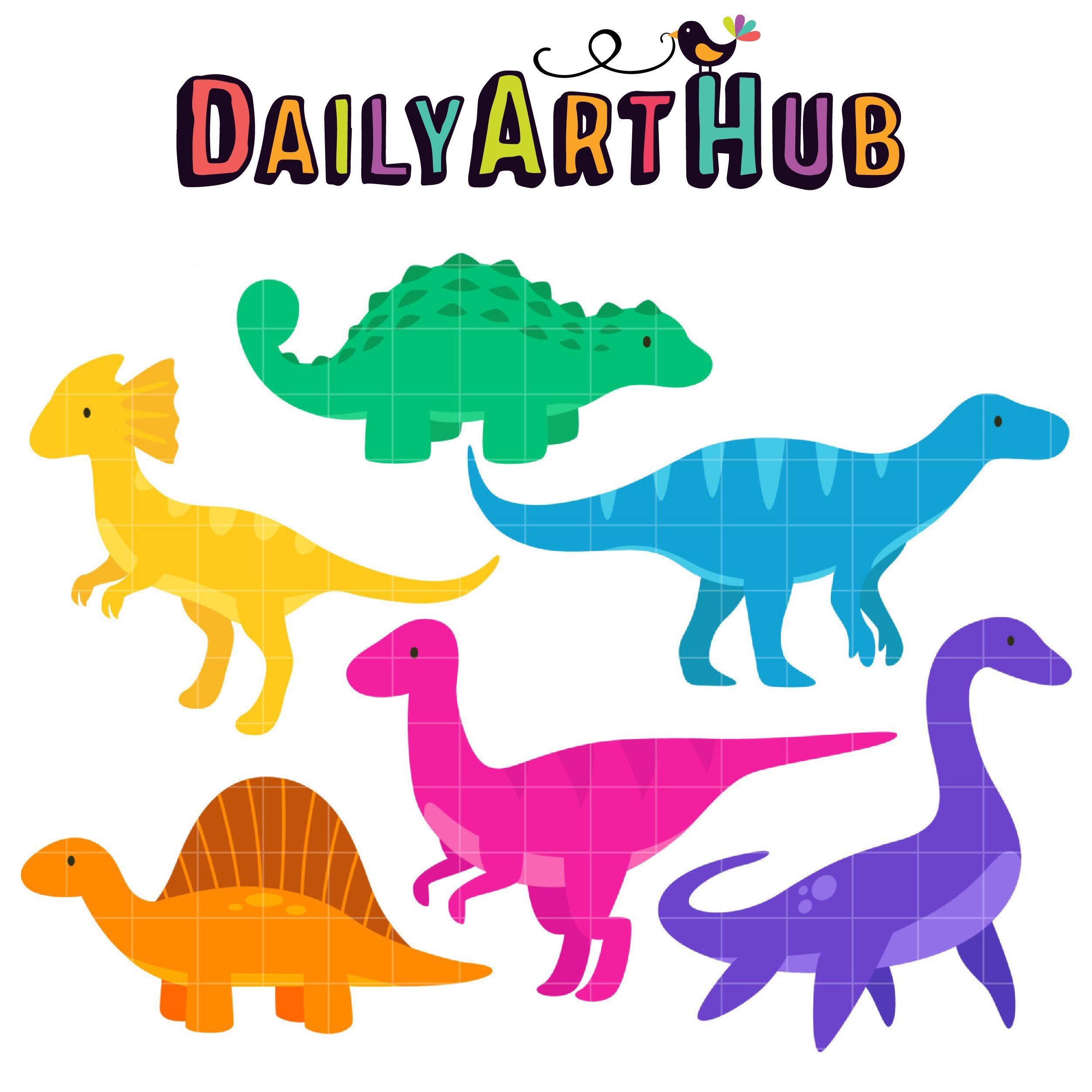 Cute Dinosaurs 2 Clip Art Set With Images Clip Art Cute