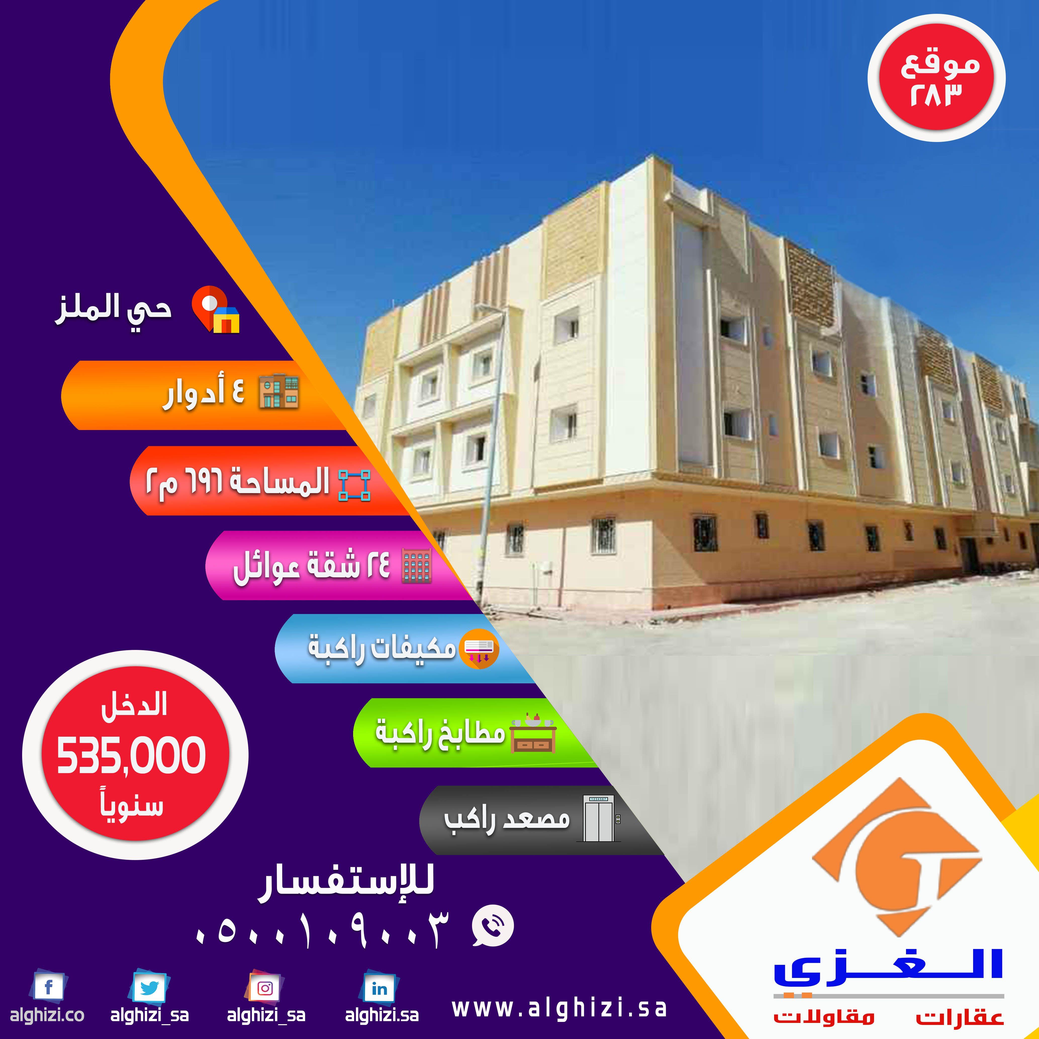 3758f93d49434 فرصة استثمارية رائعة بدخل سنوي مميز للبيع عمارة سكنية بحي الملز - جنوب شارع  الجامعة موقع