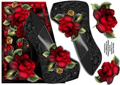 Beautiful Black Shoe Edgy on Craftsuprint designed by Kim Blundred - This sheet has a shaped edge topper for use with an 8x8 card blank. There are decoupage layers on the sheet.The design in red and black features a shoe as the main image with florals. - Now available for download!