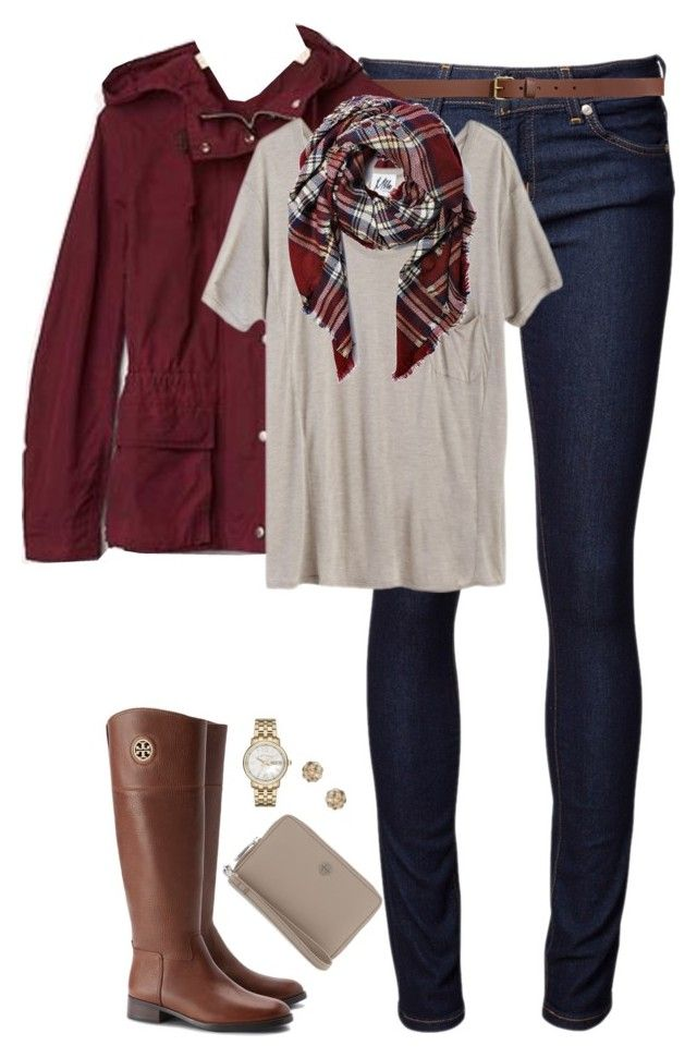 """Deep red, tan & plaid"" by steffiestaffie ❤ liked on Polyvore featuring Naked & Famous, H&M, Gap, Mlle Mademoiselle, Tory Burch, Dorothy Perkins and Marc by Marc Jacobs"