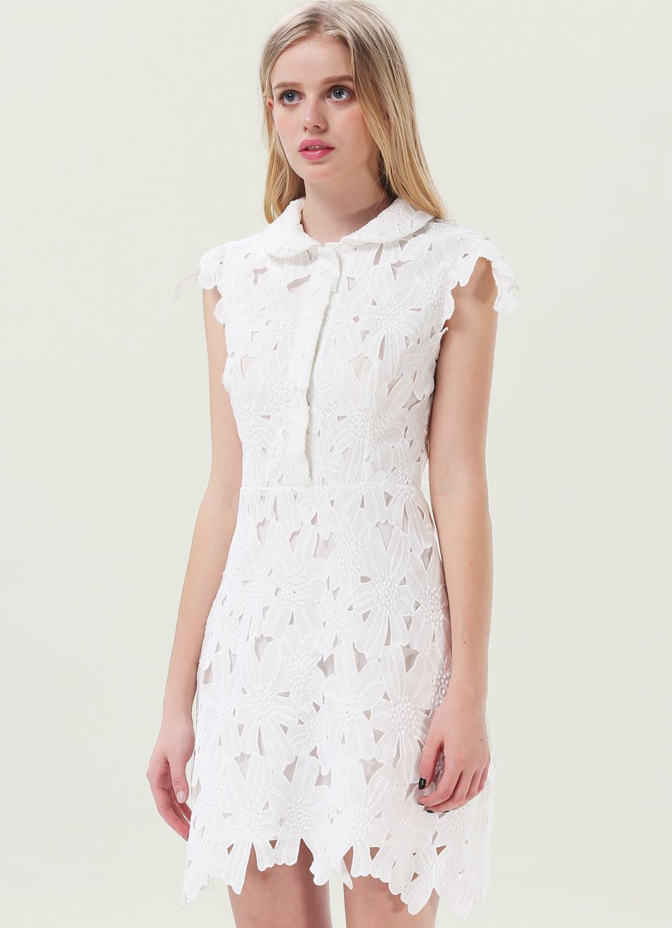 7ca7e798cd White Sleeveless Embroidered Bodycon Skater Dress US$45.98 | Clothes ...