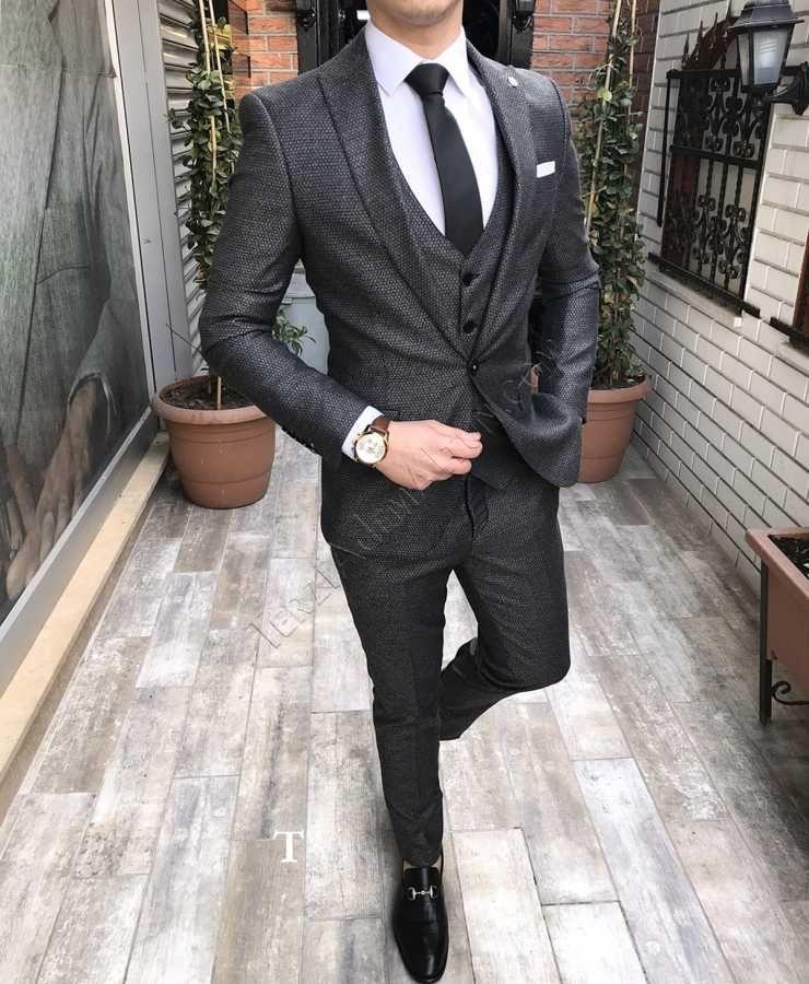 273d6550649df Terziademaltun - İtalyan stil erkek ceket yelek pantolon koyu gri takım  elbise FZ30 T2425