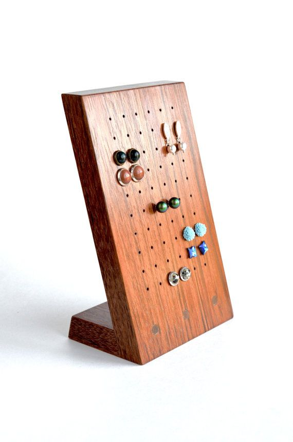 Wood earring holder, stud earring holder, jewelry ...