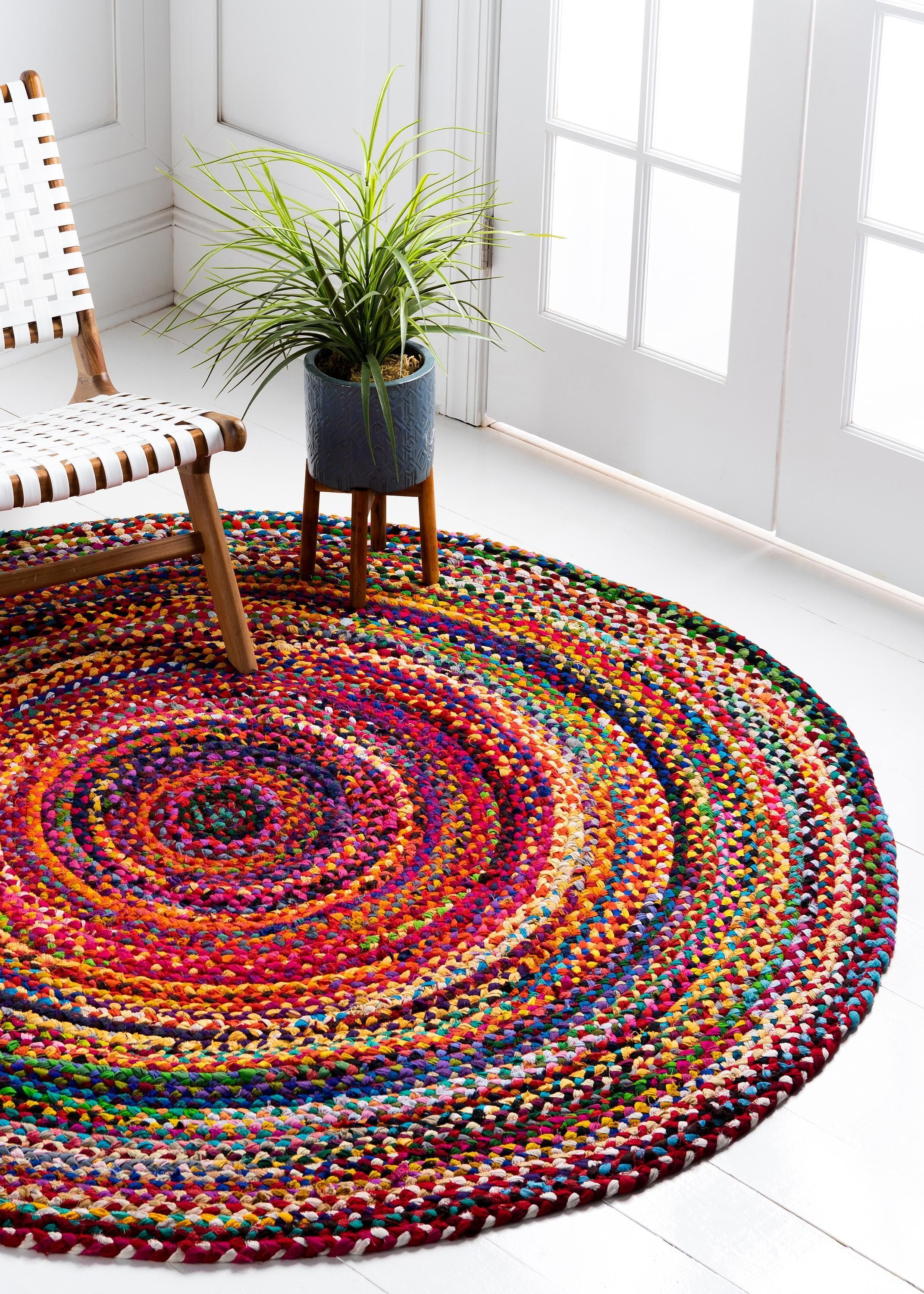 Multi 6 X 6 Braided Chindi Round Rug Area Rugs Esalerugs Braided Rugs Area Rugs For Sale Round Rugs