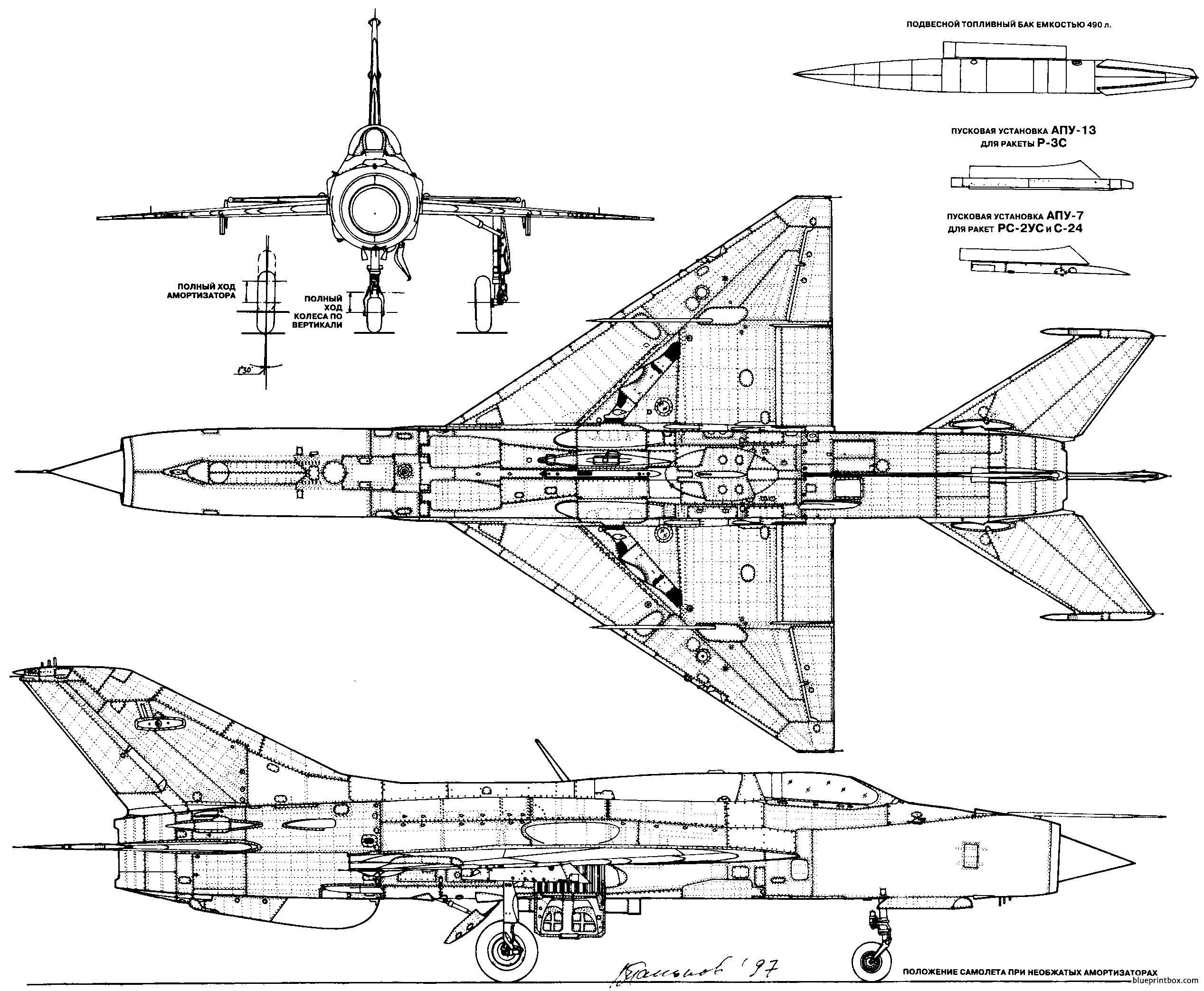 Mikoyan Gurevich Mig 21pf - Blueprintbox Com